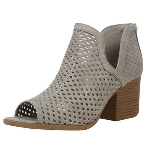 Shoes - Grey Perforated Peep Toe Stacked Block Heel Boot